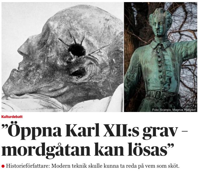 Artikel i DN om Karl XII:s död