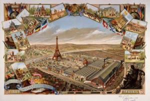 Eiffeltornet - Gravering över världsutställningen i Paris 1889