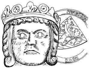 Birger jarl - skiss av staty från 1236, med Birgers vapensköld i bakgrunden