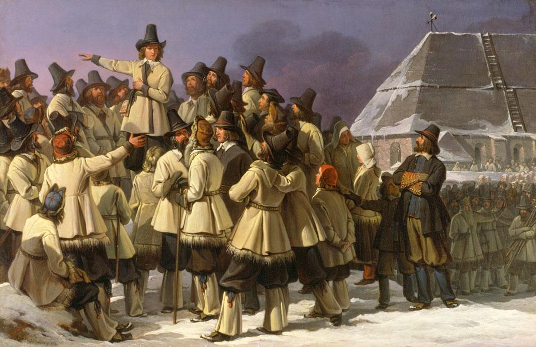 Vasaloppet - Gustav Vasa i Mora, historisk målning från 1836