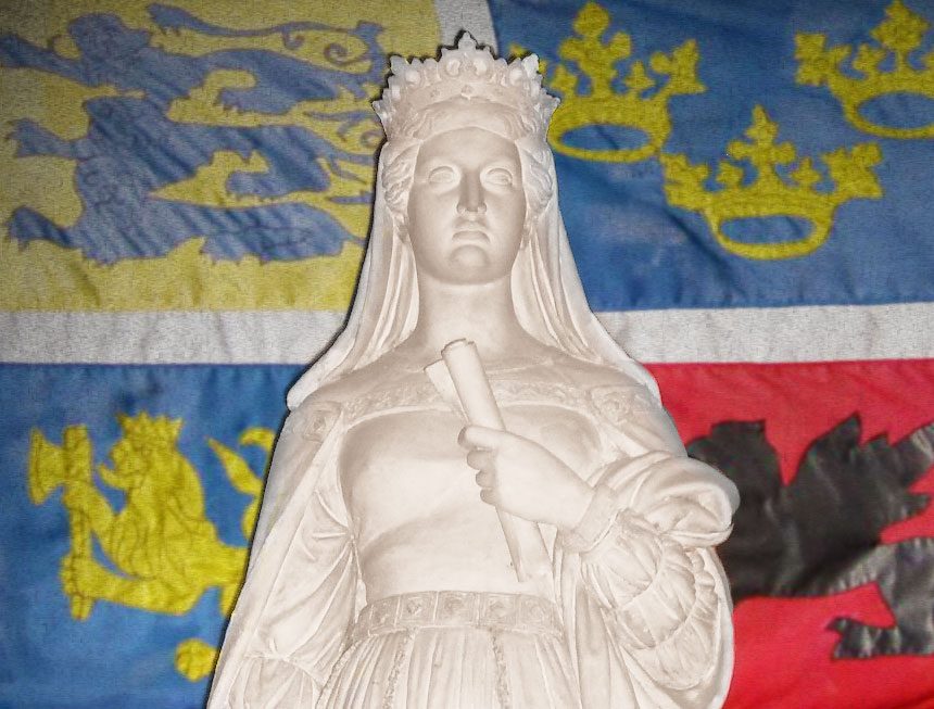 Drottning Margareta med Kalmarunionens flagga