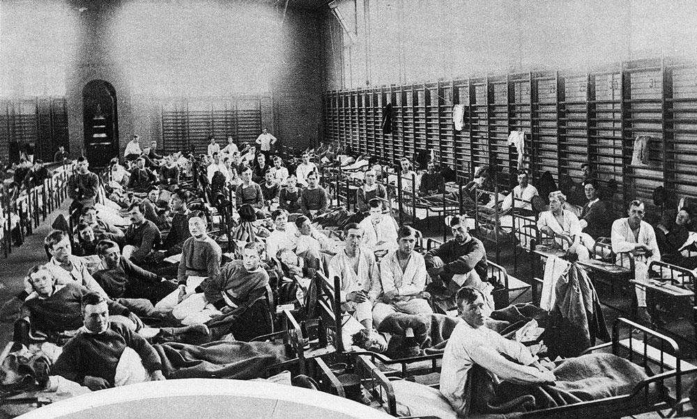 Pandemier i historien - Sjuka ligger i gymnastiksal i Boden, 1918