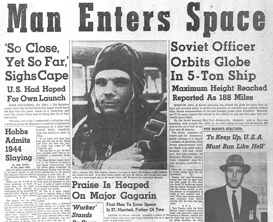 Tidningsframsida från 12 april 1961, med Jurij Gagarin i fokus