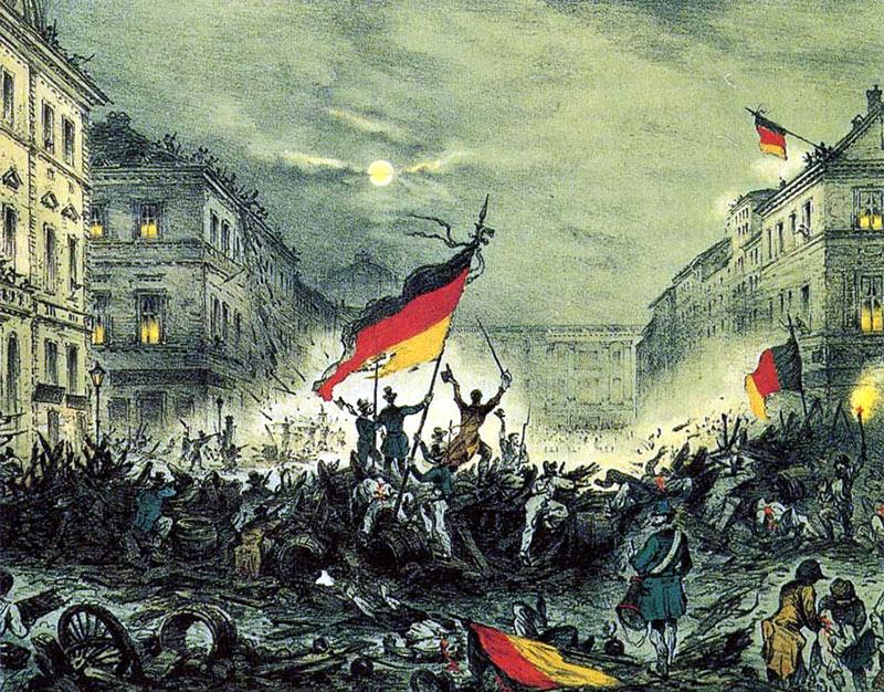 Nationalism var en av orsakerna till revolutionerna 1848, här i Berlin