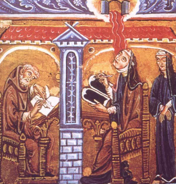 Hildegard av Bingen skriver ett av sina verk