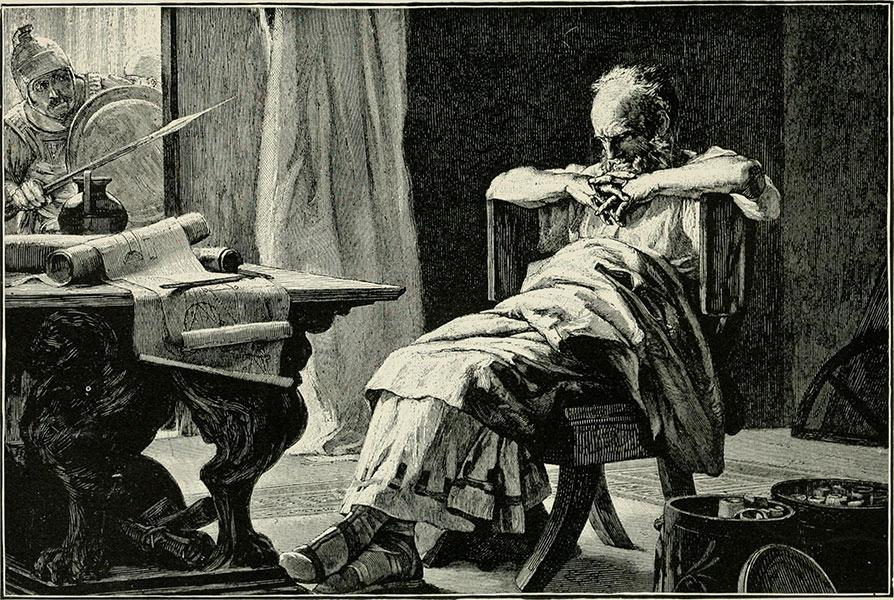 Arkimedes filosoferar när romerska soldater tränger in i hans hem.