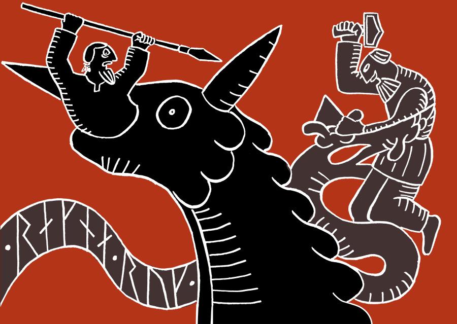 Fenrisulven slukar Oden, Tor kämpar mot Jörmungandr i bakgrunden
