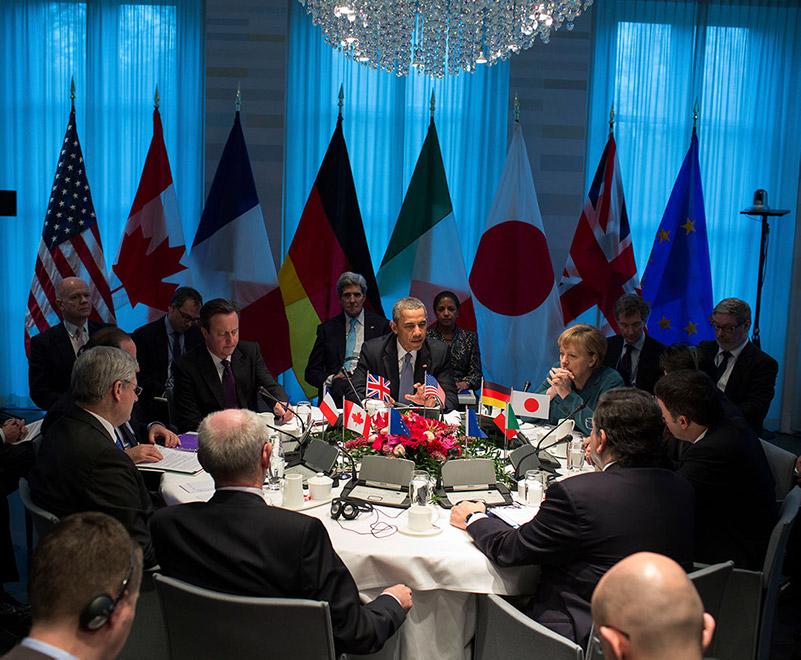 G7-ledarna diskuterar situationen i Ukraina 2014