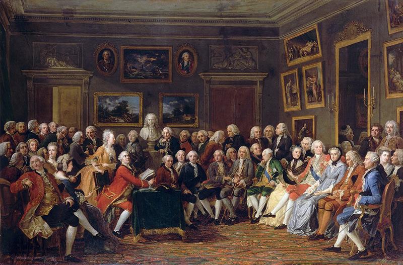 Upplysningen - Voltaires verk läses upp i en salong