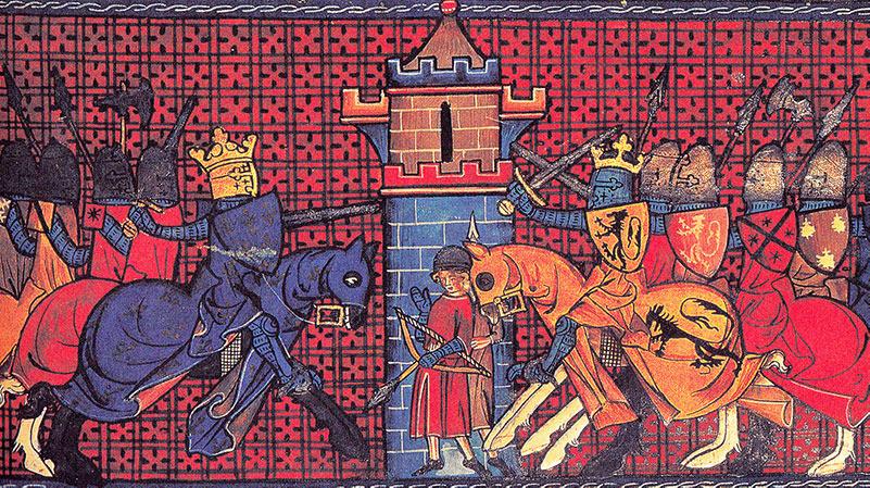 Rikard Lejonhjärta (höger) under slaget vid Gisors, 1198.