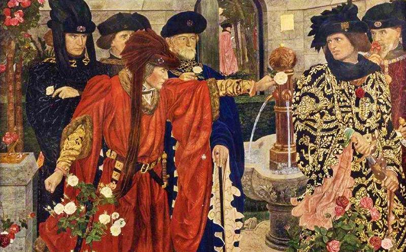 Rosornas krig - två adelsmän väljer sida i konflikten genom att plocka vita respektive röda rosor.