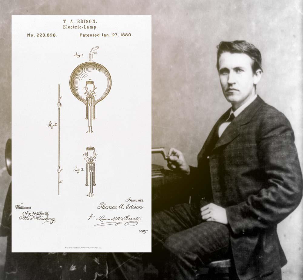 Edison 1878, och hans patent på glödlampan 1880